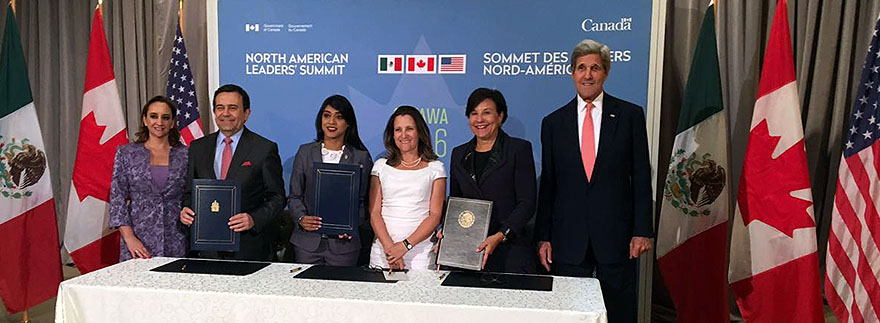 Mexican, Canadian and United States of America officials sign the Memorandum of Understanding promoting Women's Entrepreneurship and the Growth of Women-owned Enterprises in North America